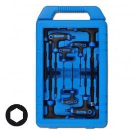 Šešiakampių raktų komplektas Hex varžtams dėžutėje 9 vnt, 2x100 mm - 10x200 mm (7882)
