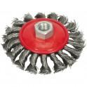 Šepetys vielinis lėkštės tipo, stambus plienas, 115 mm, M14 (ES743115)