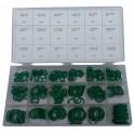 Tarpinų (manžetų) rinkinys (žalia spalva) 270 vnt. 3-22 mm Ø (OR270N)