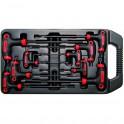 Šešiakampių raktų komplektas T-star varžtams 9 vnt, CR-V ,T10x145 mm - T50x280 mm (7880)