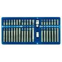 Antgalių rinkinys 40 dalių hex, torx, spline, metalinė dėžutė (66400)
