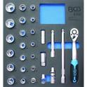 """Įrankių rinkinys su padėklu į spintelę 1/2"""", 8-32 mm, 27vnt."""