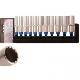 """Ilgų 12-kampių galvučių rinkinys 3/8"""", 8-19 mm, 11 vnt. """"Bgs-technic"""" (5252)"""